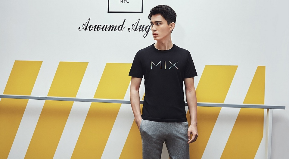 MIX pattern round neck short sleeve T shirt