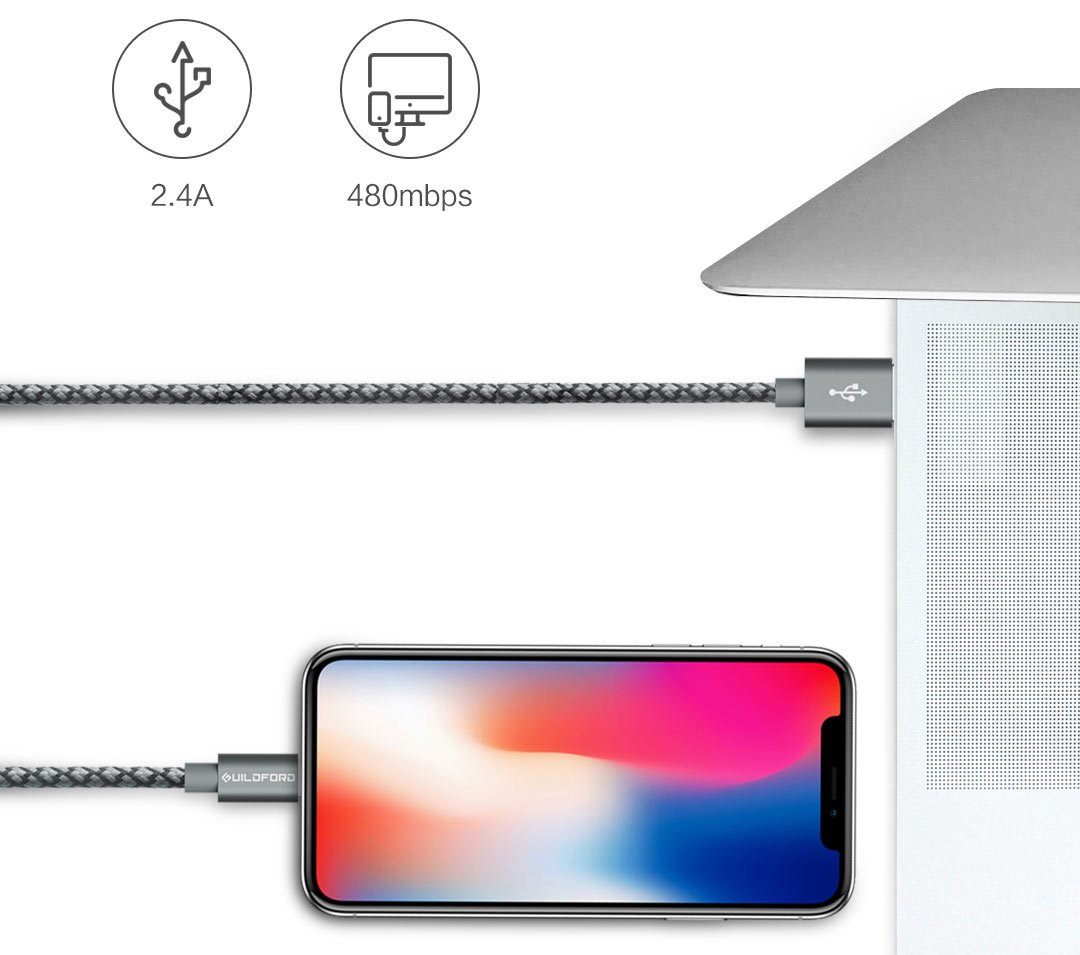 Кабель Guildford  Lightening MFI Certified Apple Data Cable