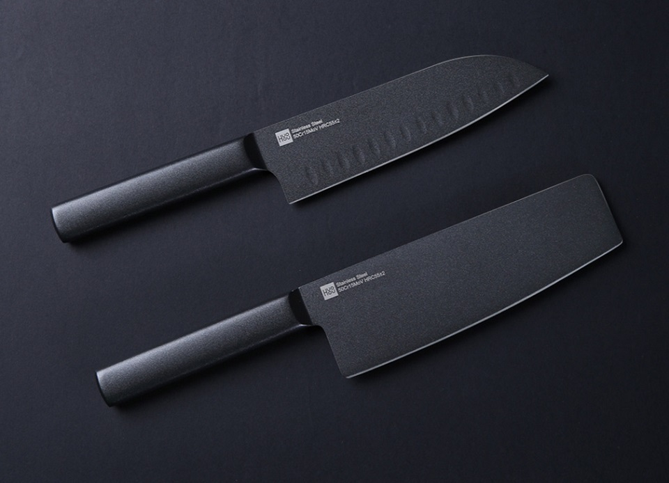 Набір ножів Huo Hou Black non-stick heat knife 2 psc. set два ножа крупним планом