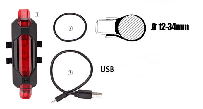 LED lights Rechargeable Bike Red USB порт
