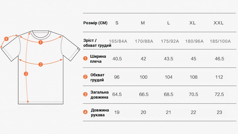 Футболка Mi LOGO pattern round neck short sleeve T shirt таблиця розмірів