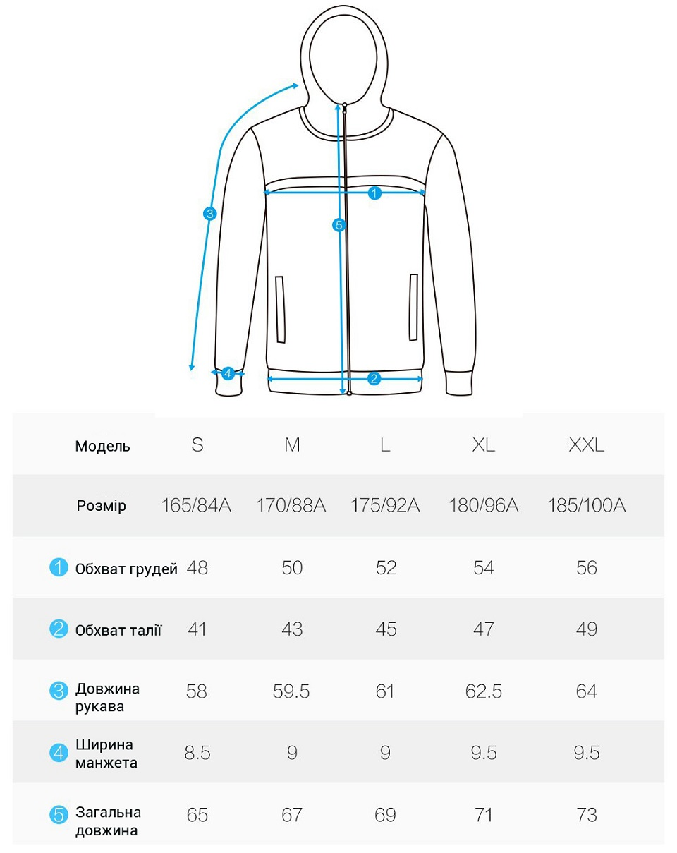 Кофта MITOWN Flying type elastic jacket men's models таблиця розмірів