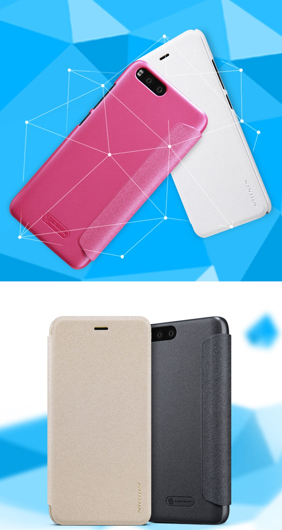 Чохол книжка Nillkin Sparkle Leather SP-LC XM для смартфонов Xiaomi Mi 6  кольори
