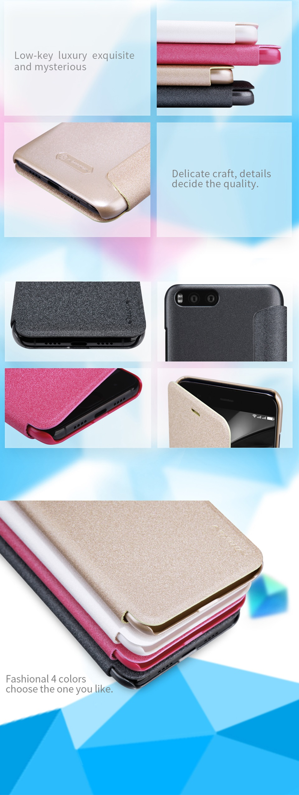 Чохол книжка Nillkin Sparkle Leather SP-LC XM для смартфонов Xiaomi Mi 6  отвори