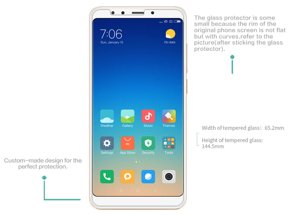 Захисне скло Nillkin Amazing H tempered glass screen protector for Xiaomi Redmi 5 розміри
