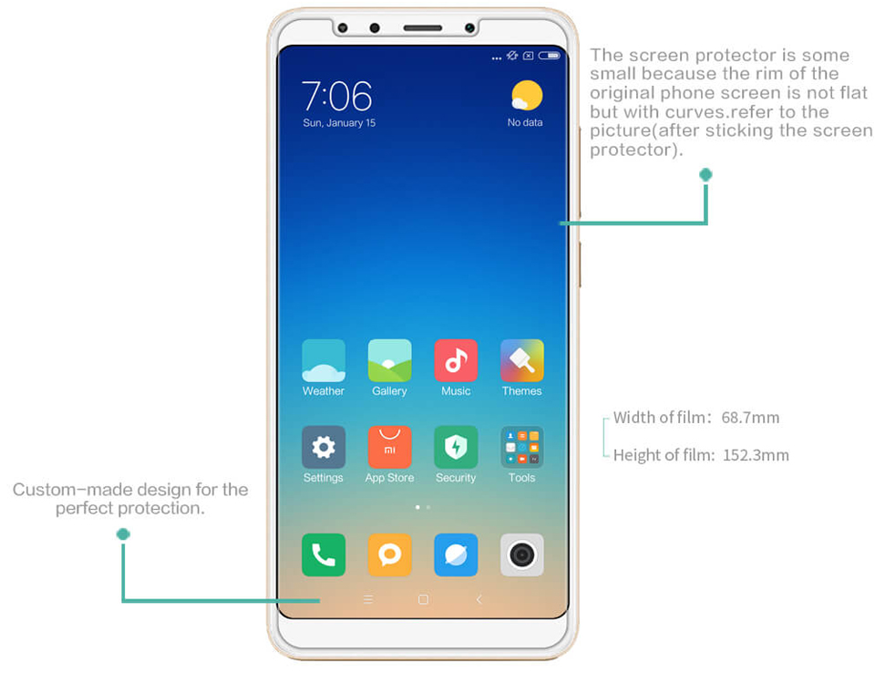 Захисна плівка Nillkin Super Clear Anti-fingerprint Protective Film Xiaomi Redmi 5 Plus розміри