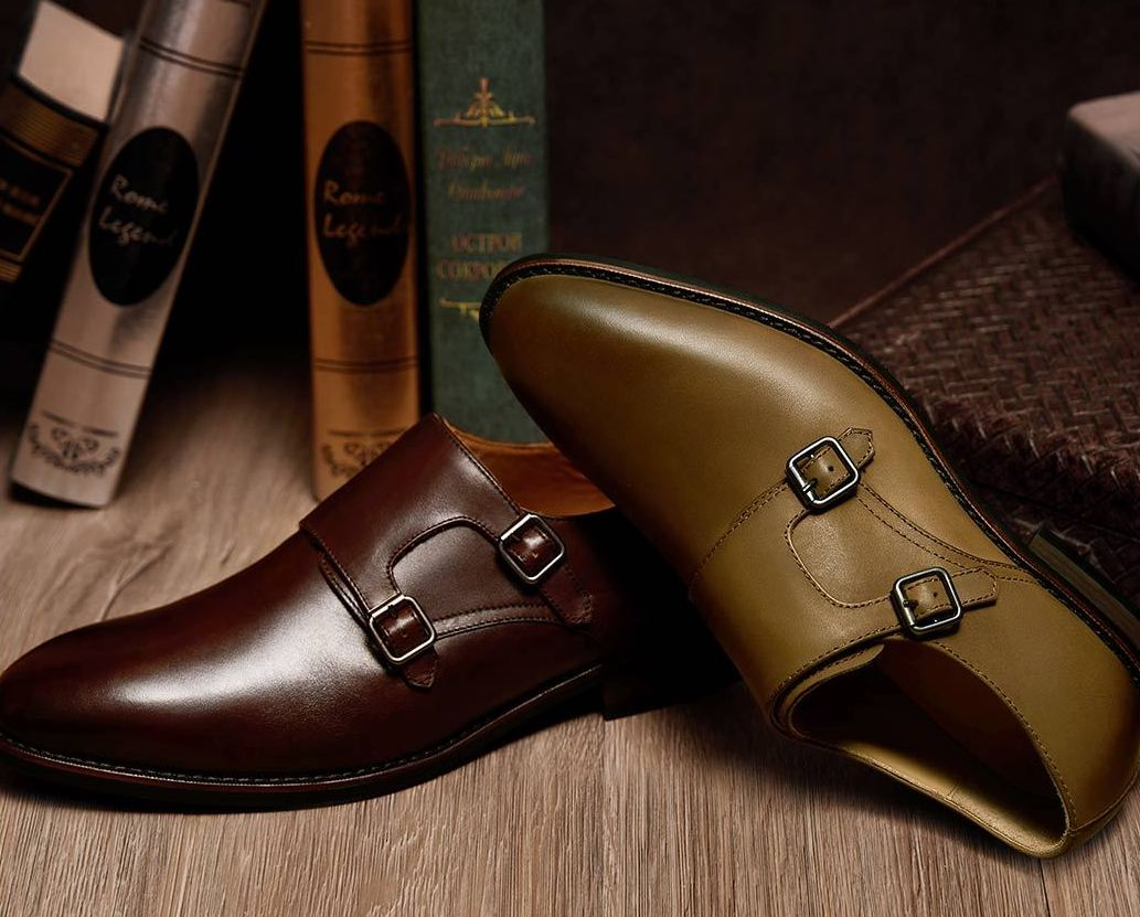 QIMIAN-Seven-sided-Calfskin-Monk-Shoes
