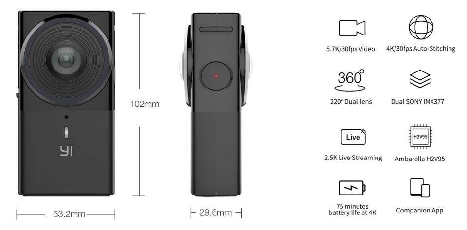 YI 360 VR Camera dimensions