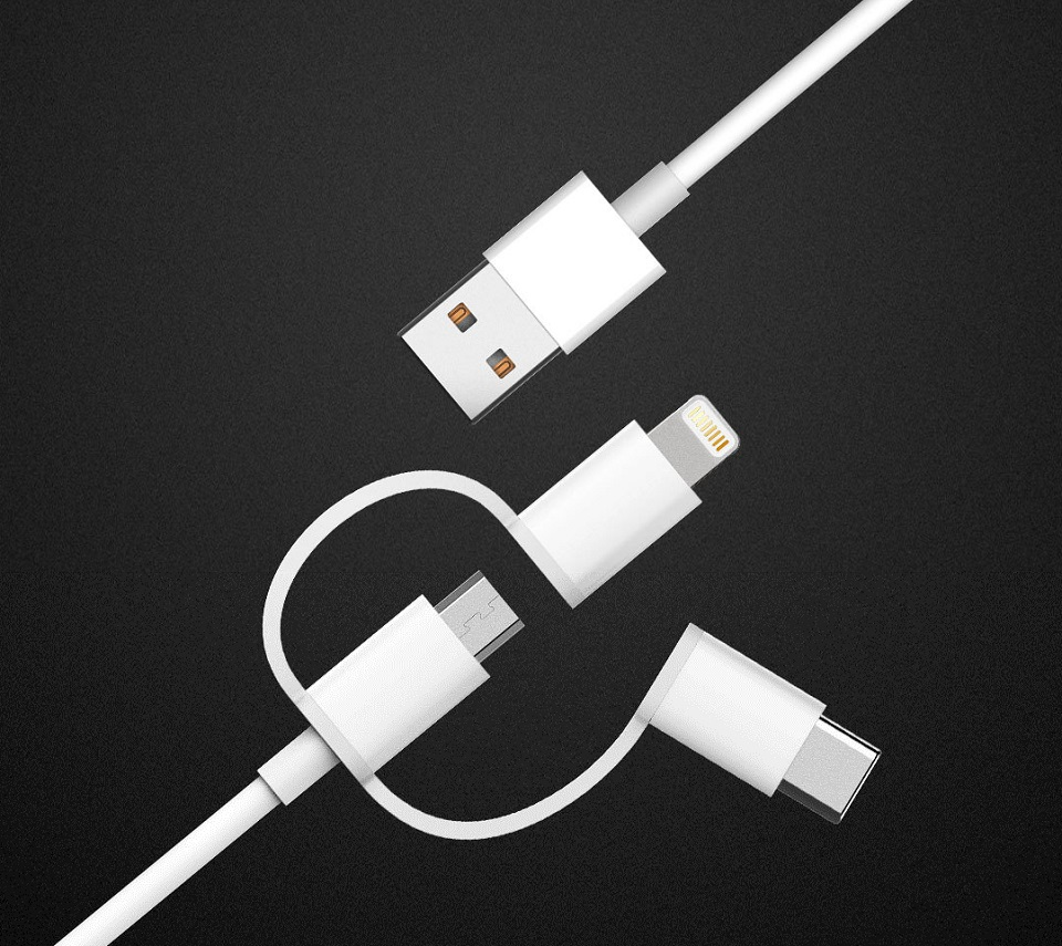 Кабель Zaofeng 3-Way Data cable Lightening / Type-C / Micro USB White 100 cm крупним планом