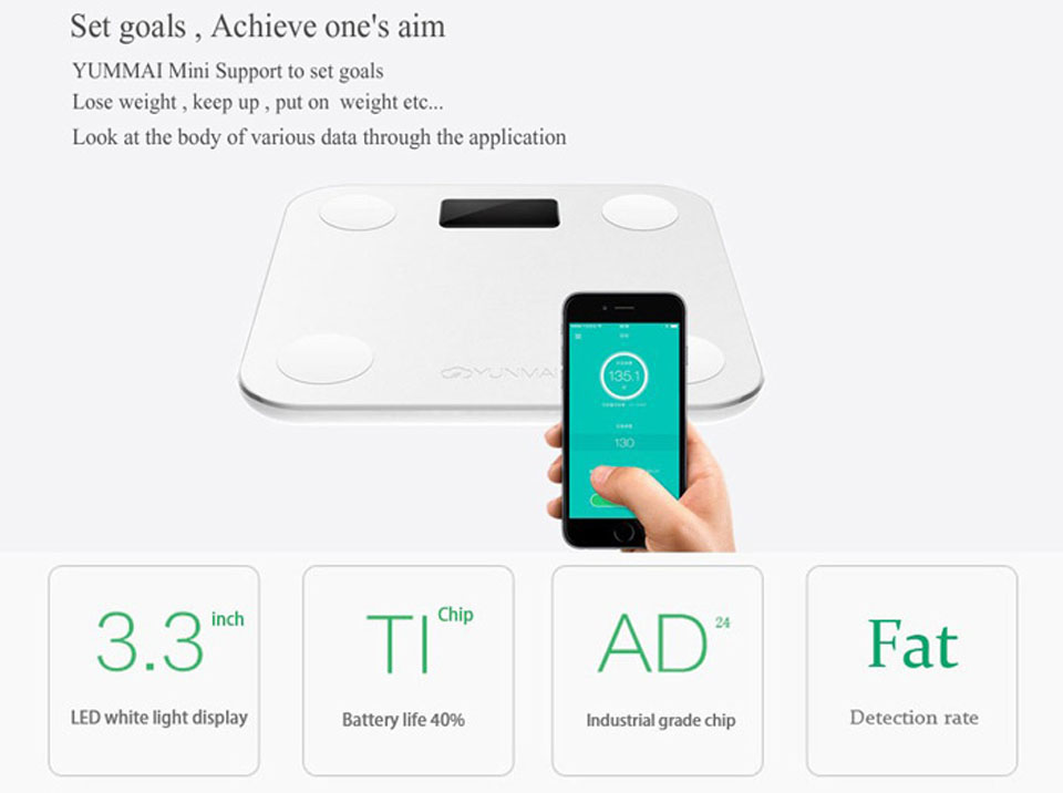 YUNMAI mini Smart Scale керування
