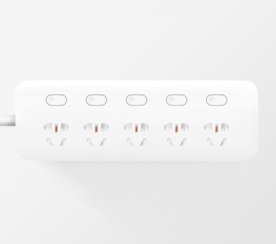 Подовжувач KingMi Power Strip (5 розеток; без USB; 5 викл) White QC0505 крупним планом