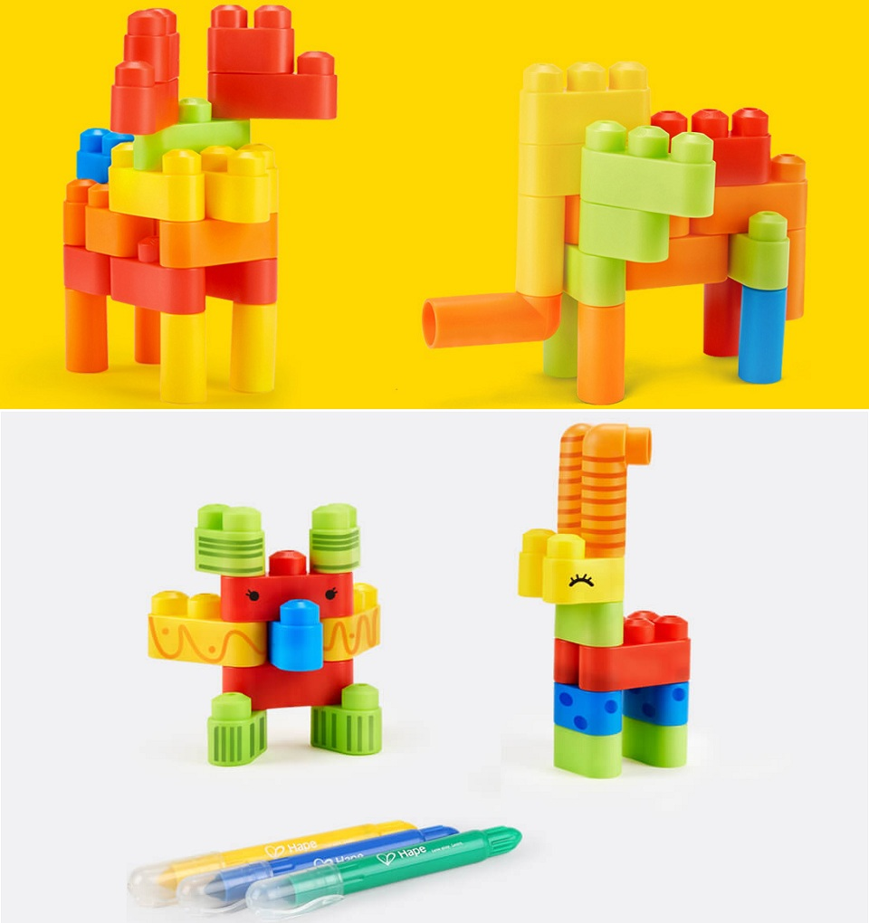 Конструктор MITU Hape 80 flexible building blocks BEV4153CN малюнки на конструкторі